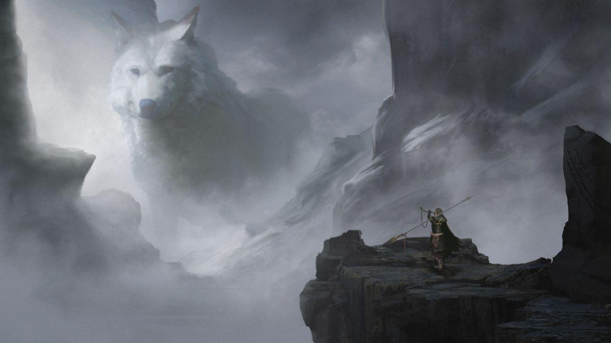 Giant White Wolf Fantasy Creature Spear Warrior Cliff Rocks Wallpaper