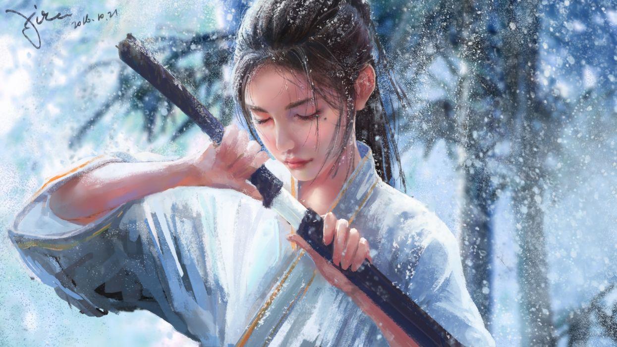 japanese women fantasy girl katana kimono ponytail snow winter closed eyes realistic wallpaper
