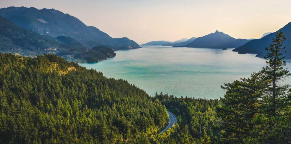 forest lake landscape mountains trees view wallpaper