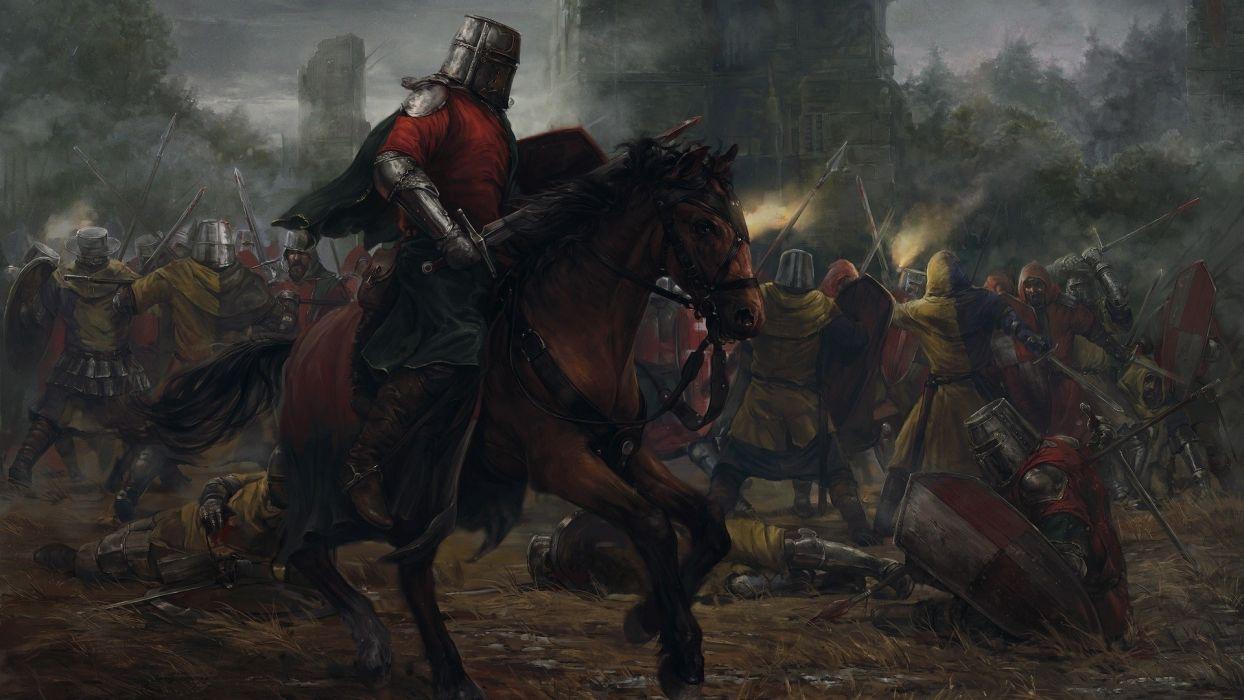 medievel knights war sword shield horse cape wallpaper