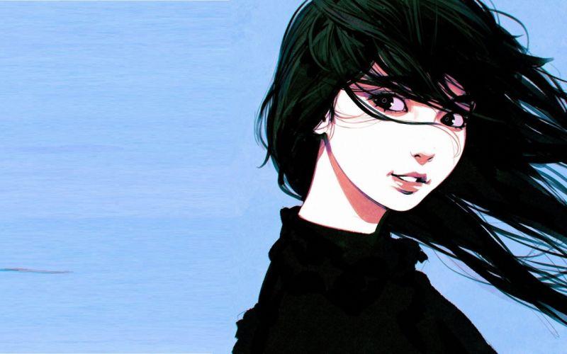 realistic fantasy girl cute long hair black wallpaper