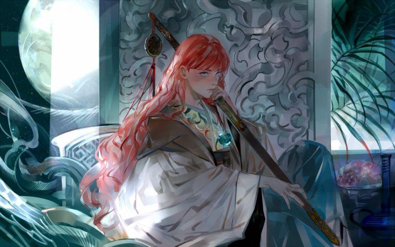realistic fantasy girl cute long hair red hair beautiful woman dress wallpaper