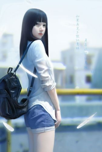 realistic fantasy girl cute long hair wallpaper
