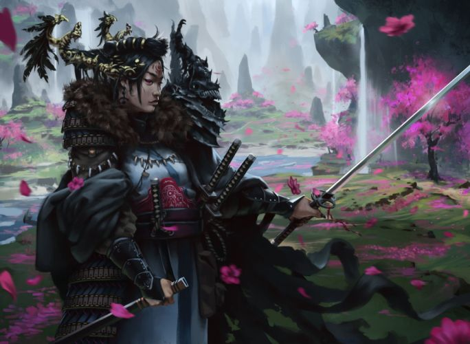 realistic fantasy girl warrior woman sword long hair wallpaper
