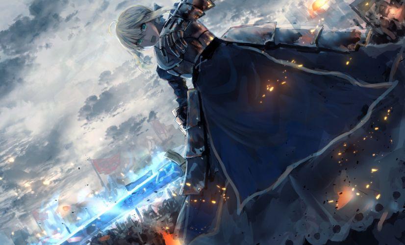saber alter battle war fate zero painting armor wallpaper