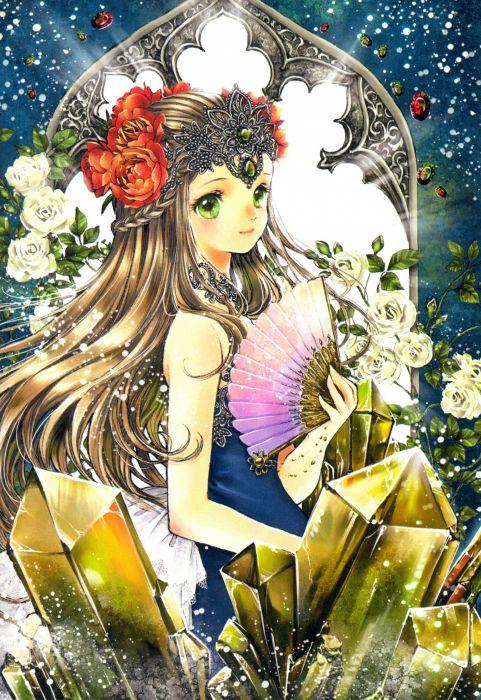 Shiitake Mangaka beautiful anime girl flower wallpaper