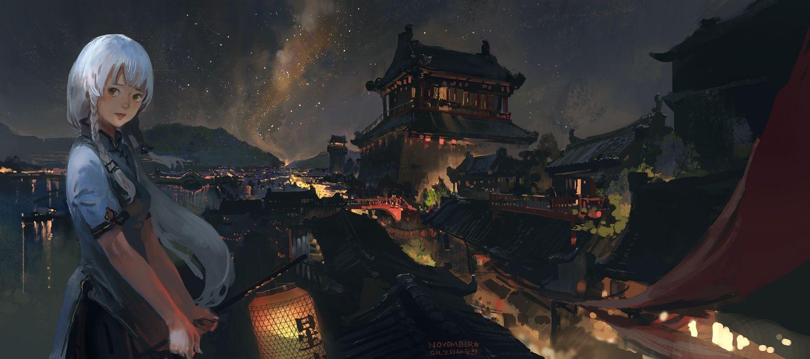 Stardust Xingchen Vocaloid Braid Anime Landscape Buildings Traditional wallpaper