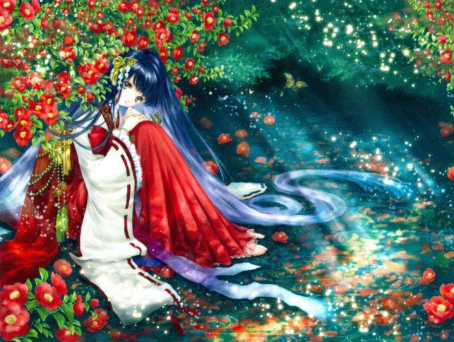 Shiitake Mangaka Inspiration - Shiitake Rough Illustrations Artbook beautiful anime girl flower kimono wallpaper
