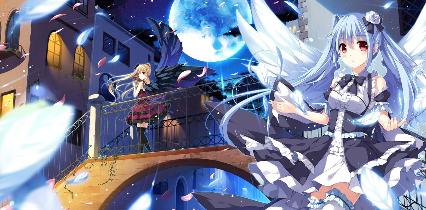 anime girls angel devil wings moon feathers night wallpaper