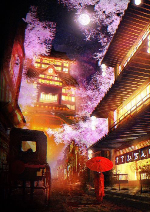 fantasy tree house night wallpaper