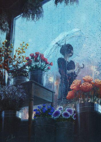 fantasy girl beautiful flower rose rain umbrella wallpaper