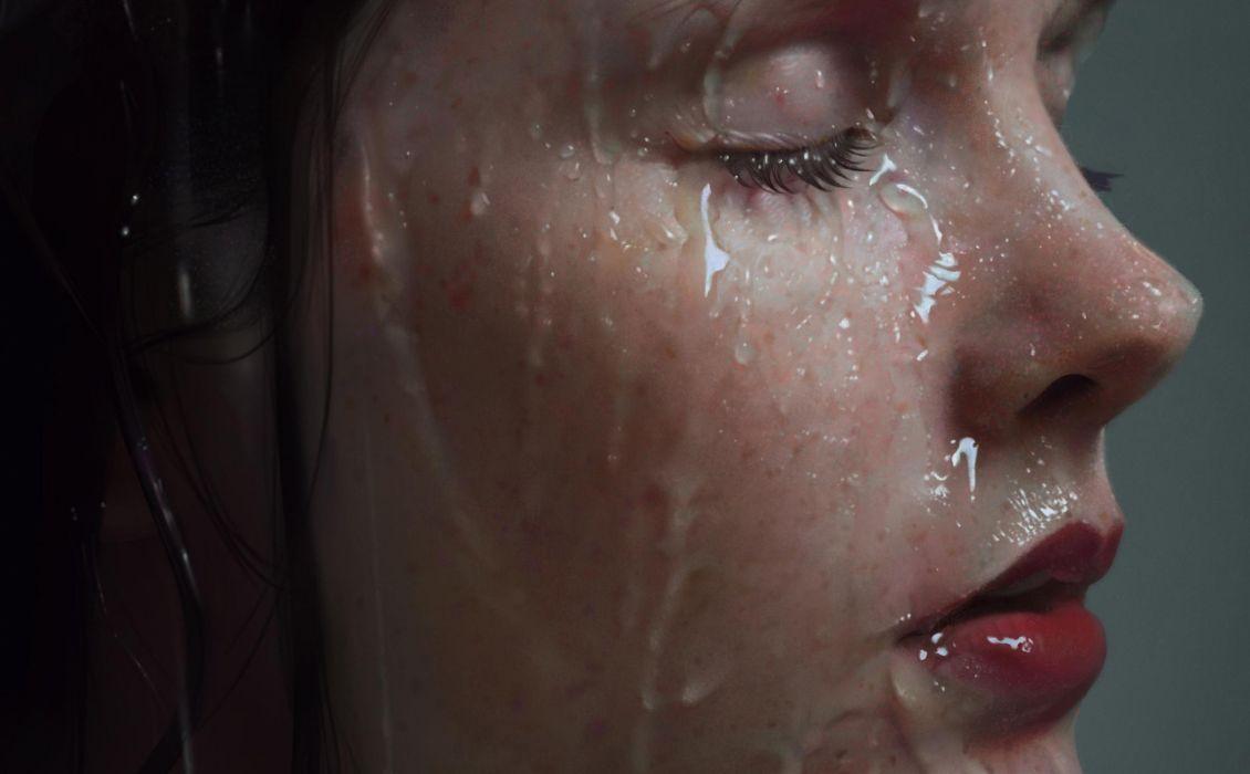 Face-sensuality-sensual-sexy-woman-girl-wet-water-lips-lipstick wallpaper