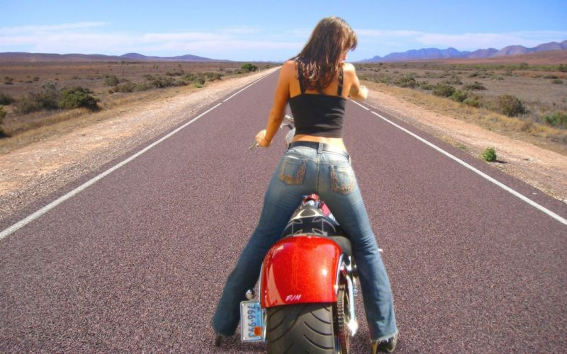 Sensuality-sensual-sexy-woman-girl-pants-jeans-denim-torn-machine-motorcycle-road wallpaper