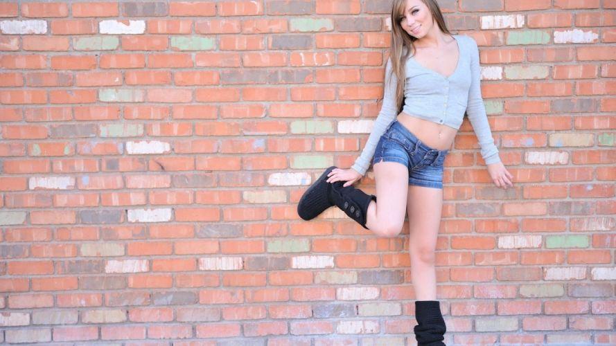 Sensuality-sensual-sexy-woman-girl-shorts-jeans-denim-model-Capri Anderson-smiling-wall-boots wallpaper