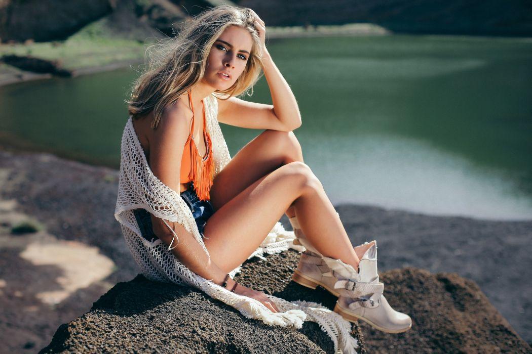 Sensuality-sensual-sexy-woman-girl-shorts-jeans-denim-torn-model-blonde-sitting-legs-boots-lake wallpaper