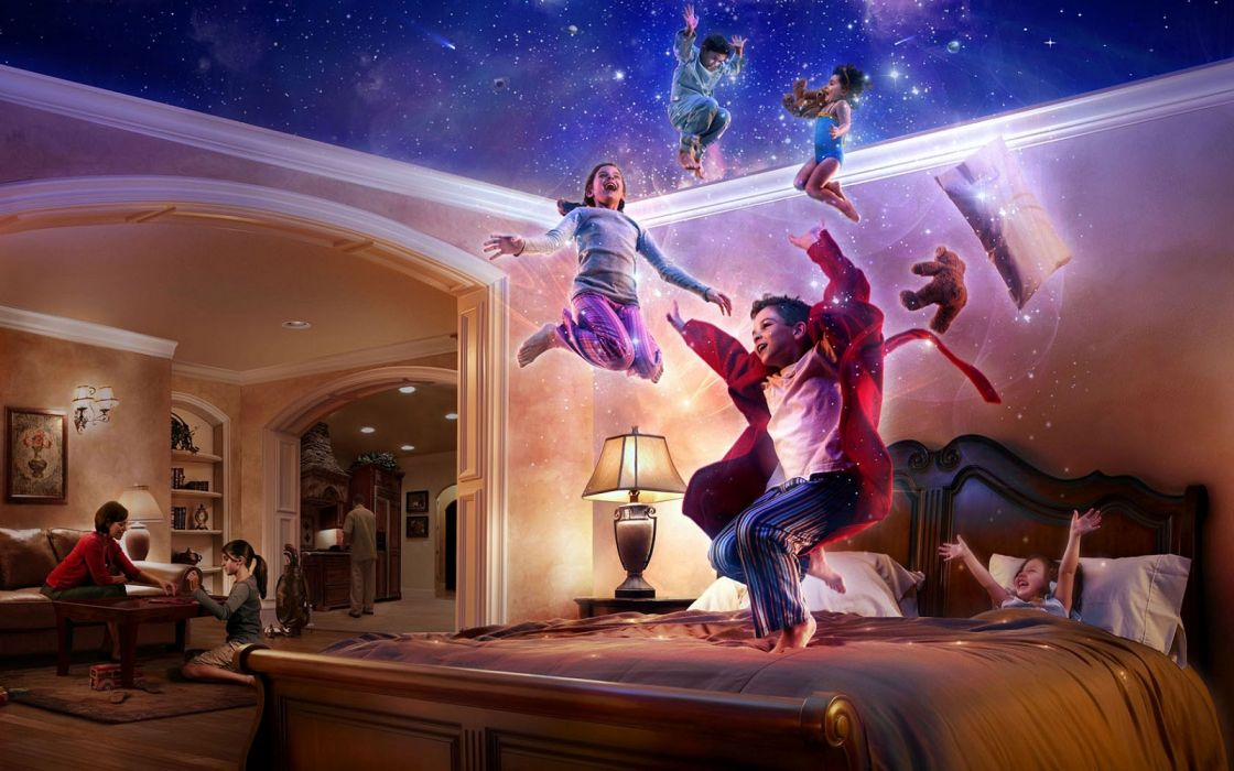 Arts-babies-funny-bliss-flying-bedroom-wide wallpaper