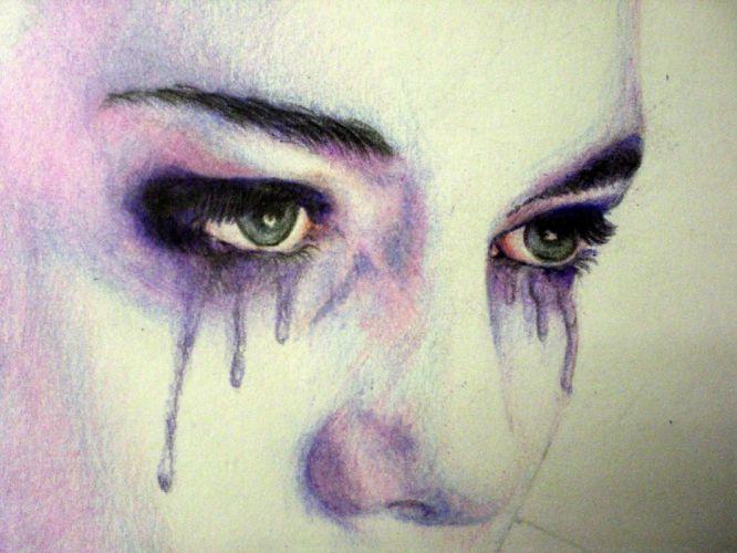 Arts-woman-girl-crying-eyes-miss you-makeup wallpaper