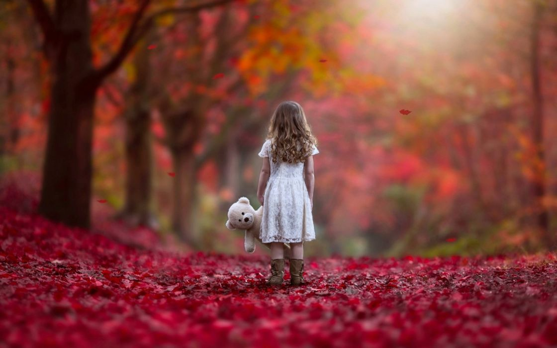 Photography-child-girl-little girl-teddy-miss you-autumn wallpaper
