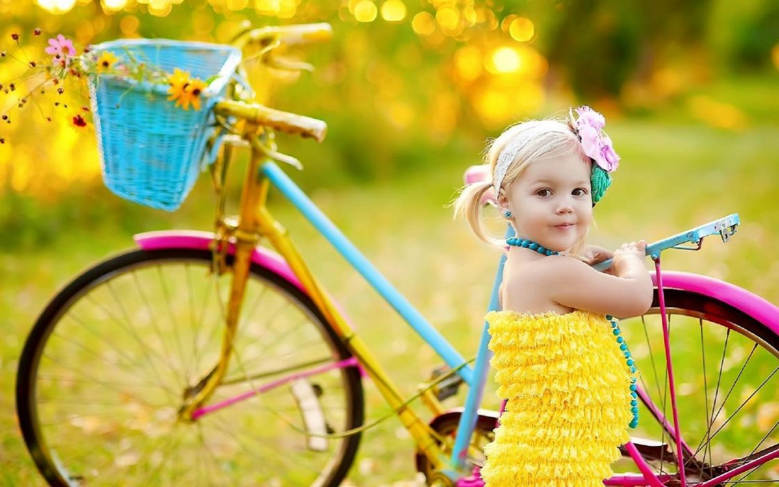 Photography-child-girl-bicycle-cute-happy-bliss wallpaper