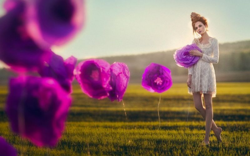 Photography-sensuality-sensual-sexy-woman-girl-legs-purple-flowers-short dress-grass-nature wallpaper