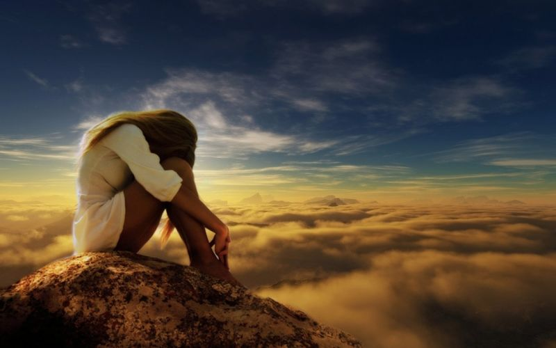 Photography-sensuality-sensual-sexy-woman-girl-lonely-miss you-legs-sitting-rock-cloud wallpaper