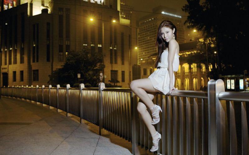 Photography-sensuality-sensual-sexy-woman-girl-stylish-legs-dress-sitting-fence wallpaper