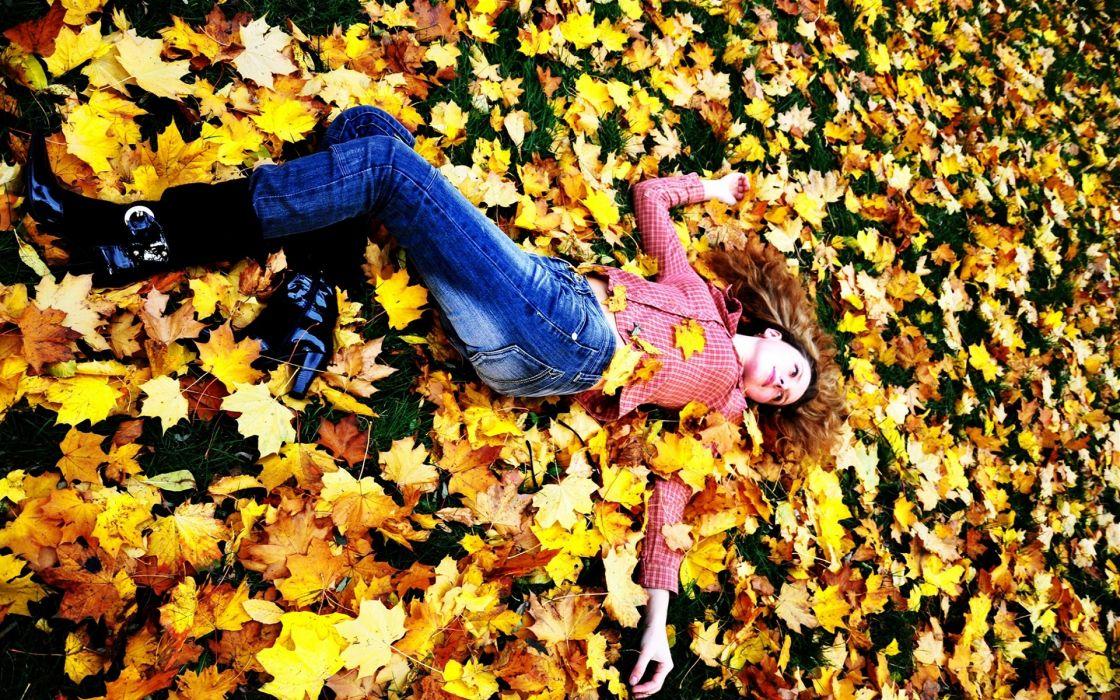 Photography-sensuality-sensual-sexy-woman-girl-sad-alone-pants-jeans-denim-autumn-leaves wallpaper