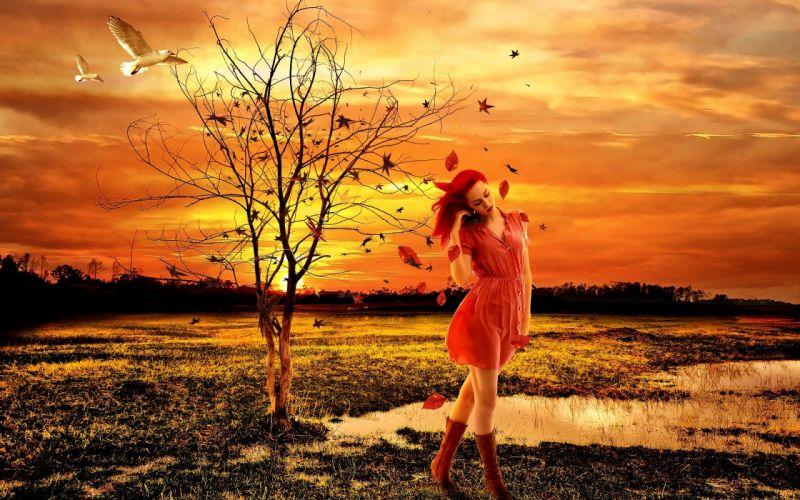 Photography-sensuality-sensual-sexy-woman-girl-sunshine-red-dress-sad-miss you wallpaper