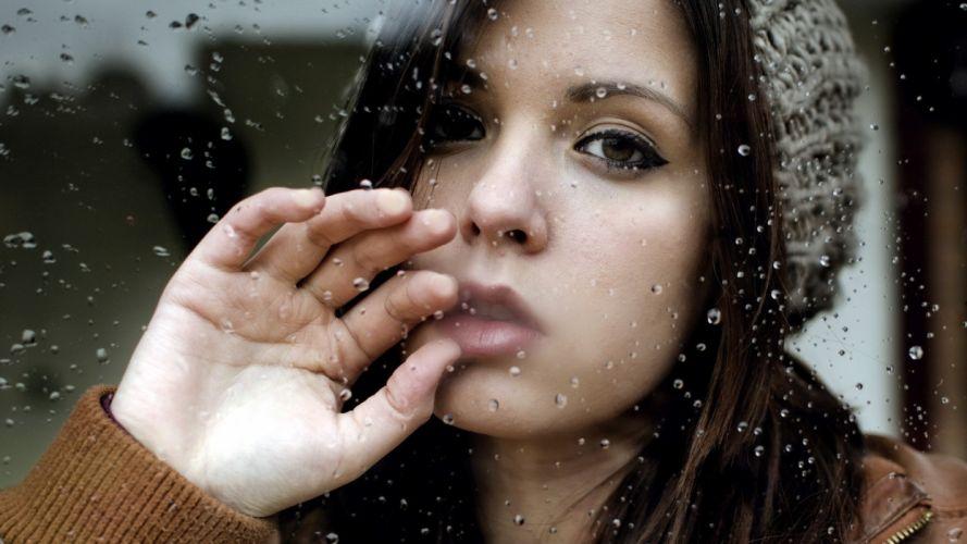 Photography-sensuality-sensual-sexy-woman-girl-window-rain-lonely-sad-hand wallpaper