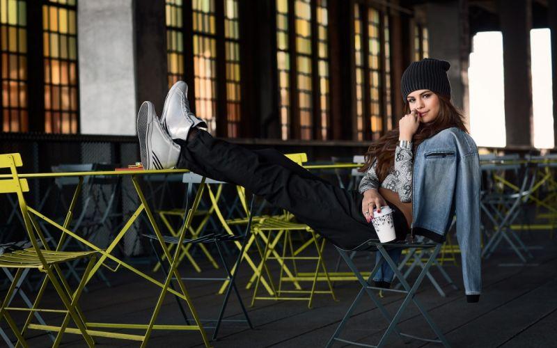 Photography-sensuality-woman-girl-Selena Gomez-cute-legs-stylish-chair-sneakers wallpaper