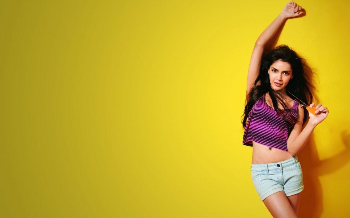 Sensuality-sensual-sexy-woman-girl-short-jeans-denim-purple-top-glamour-posing wallpaper