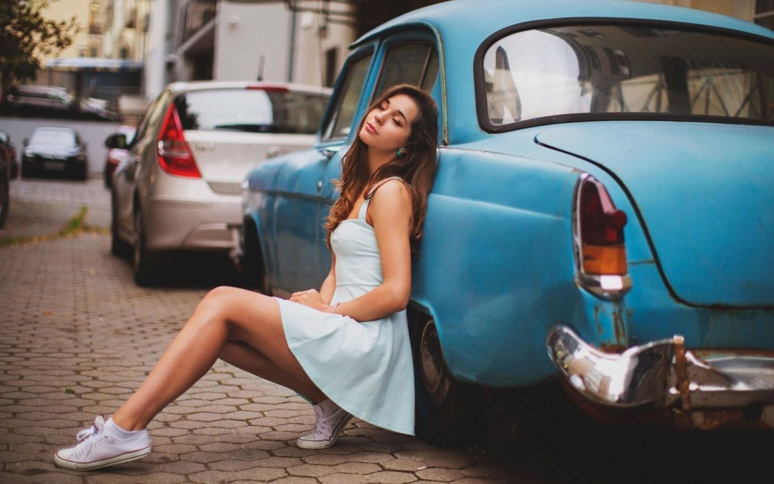 Sensuality-sensual-sexy-woman-girl-short-jeans-denim-short dress-stylish-car-sneakers wallpaper