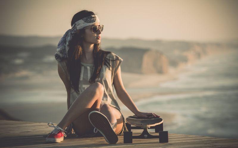 Sensuality-sensual-sexy-woman-girl-short-jeans-denim-stylish-skateboard-sneakers wallpaper