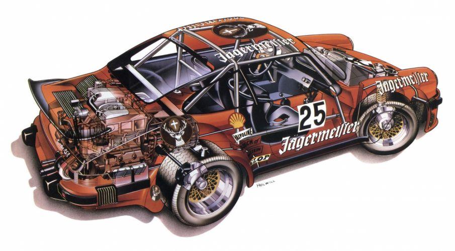 Porsche 934 Turbo RSR Cutaway Classic Race Car wallpaper