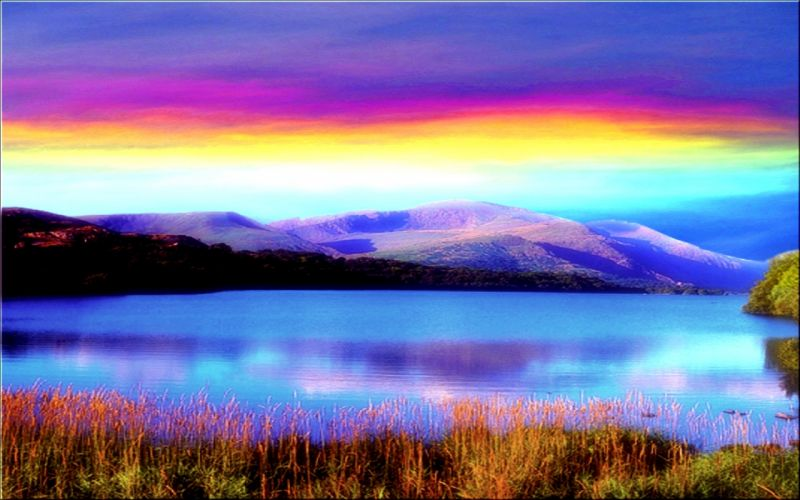 Beautiful-Rainbow-In-Lake- wallpaper