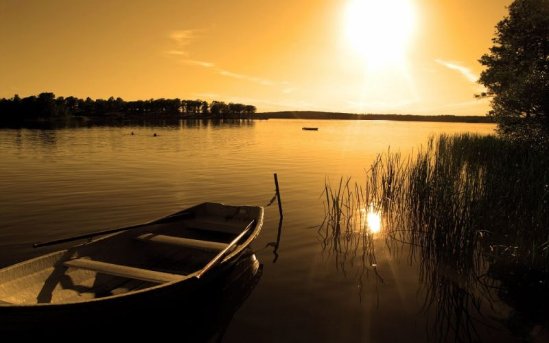 Beauty-of-Sunrise-River- Nature Landscape River Sunrise Water wallpaper