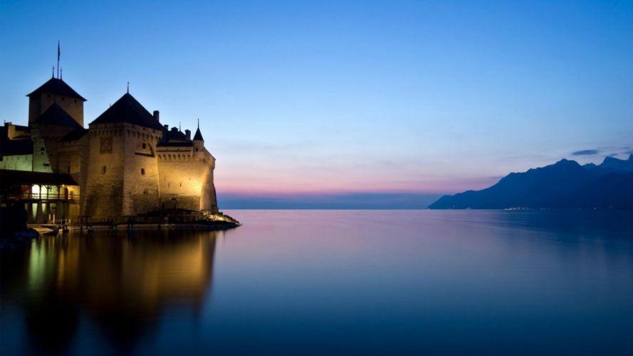 castle-river-lake wallpaper