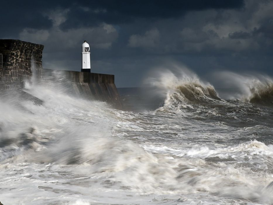Coast Lighthouse sea waves wallpaper