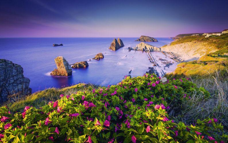Costa Quebrada Cantabria Spain Coast wallpaper