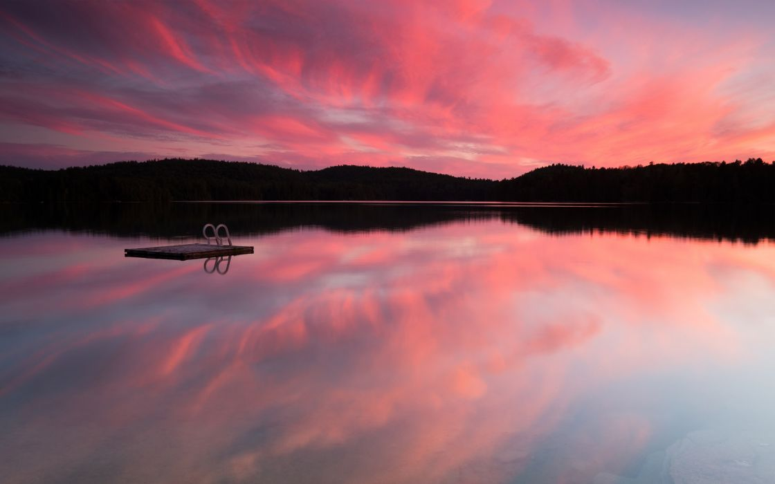 -forest-lake-pink-sunset- wallpaper