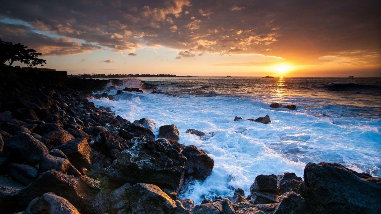 hawaii-coast-sunset wallpaper