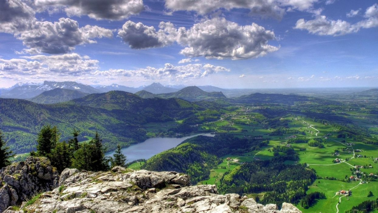 lakes-magnificent-view-lake-villages-geass-mountains-panoramic-clouds wallpaper