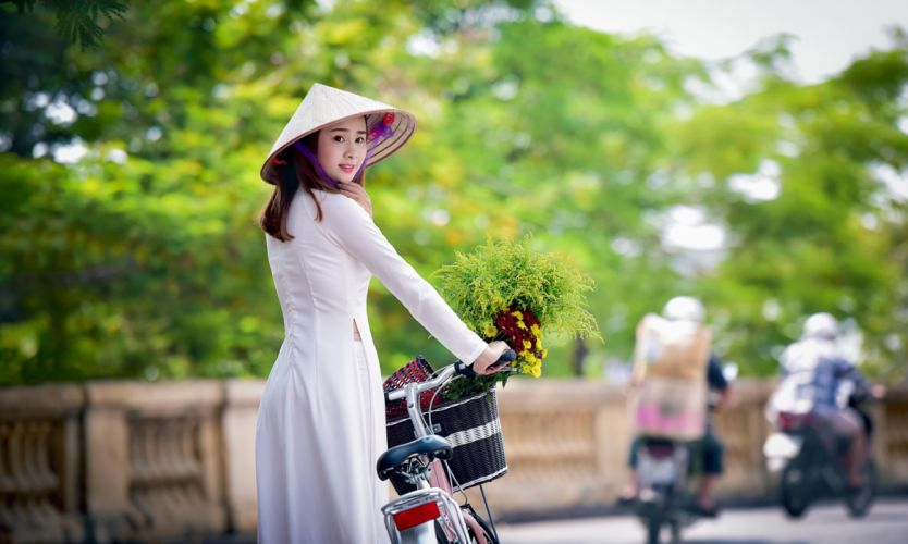 Photography-bicycle-sensuality-sensual-sexy-woman-girl-asian-hat-flowers wallpaper
