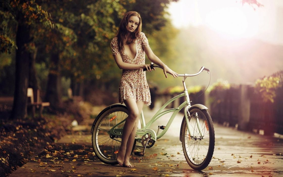 Photography-bicycle-sensuality-sensual-sexy-woman-girl-legs-cleavage-autumn wallpaper