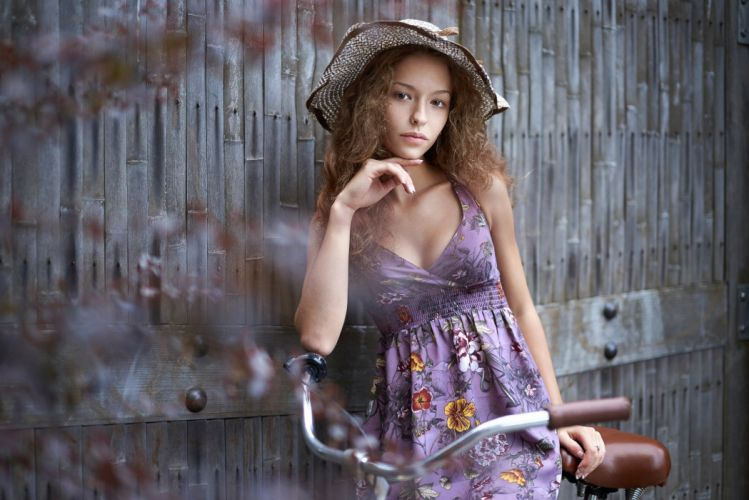 Photography-bicycle-sensuality-sensual-sexy-woman-girl-model-asian-hat-dress-thoughtful wallpaper
