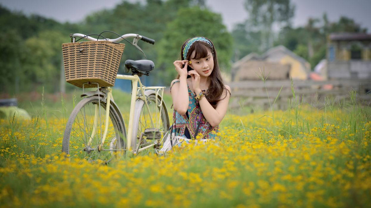 Photography-bicycle-sensuality-sensual-sexy-woman-girl-model-asian-flowers-field-nature-omen wallpaper