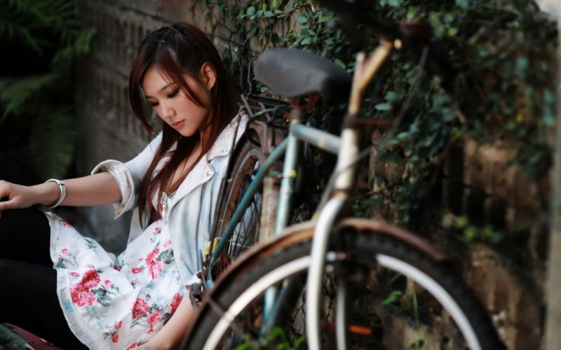 Photography-bicycle-sensuality-sensual-sexy-woman-girl-model-asian-thoughtful wallpaper