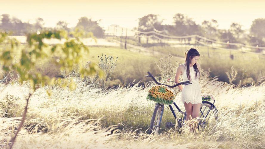 Photography-bicycle-sensuality-sensual-sexy-woman-girl-model-nature-turf wallpaper
