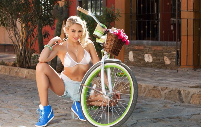 Photography-bicycle-sensuality-sensual-sexy-woman-girl-shorts-jeans-denim-Khloe Terae-model-sneakers-belly-tummy wallpaper