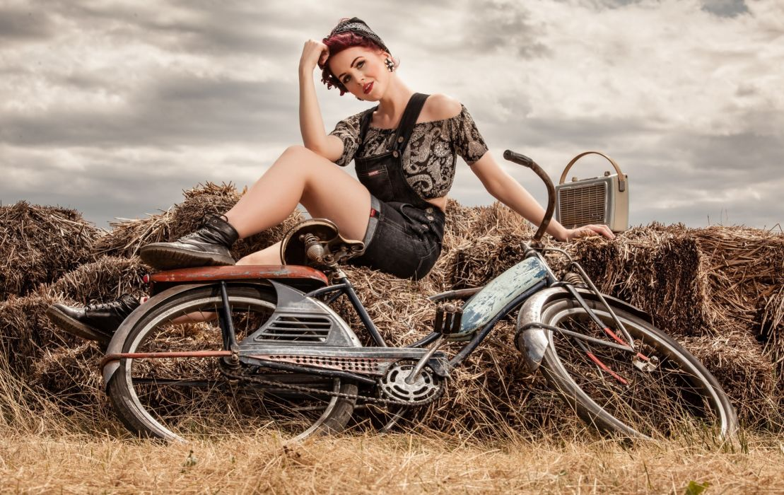 Photography-bicycle-sensuality-sensual-sexy-woman-girl-shorts-jeans-denim-hay-legs-sitting wallpaper